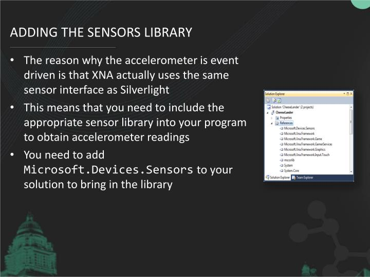 Adding the Sensors library