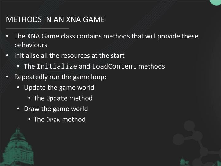 Methods in an XNA game