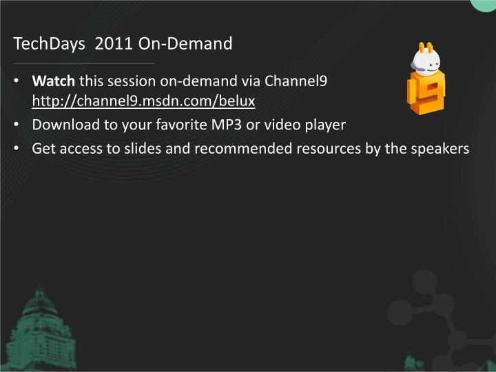 TechDays  2011 On-Demand