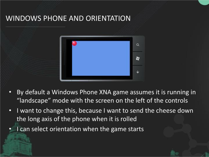 Windows Phone and Orientation