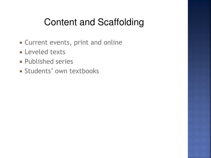 Content and Scaffolding