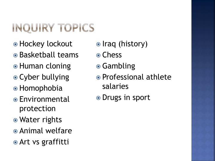 Inquiry topics