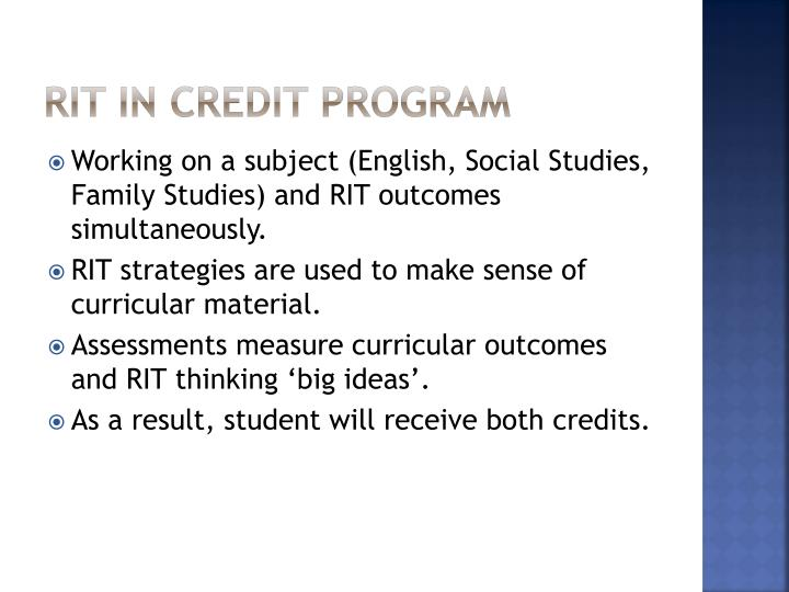 RIT in Credit Program