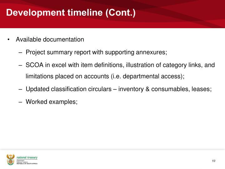 Development timeline (Cont.)
