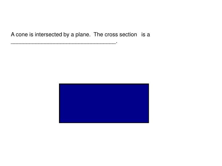 A cone is intersected by a plane.  The cross section 