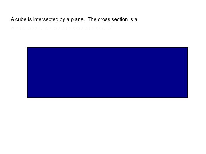 A cube is intersected by a plane.  The cross section is a 
