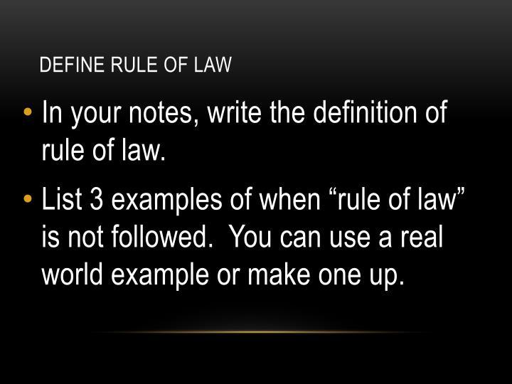Define RULE OF LAW