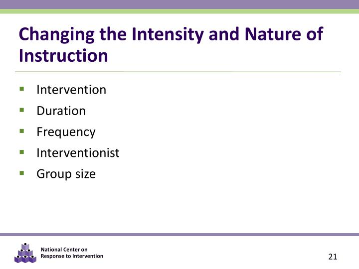 Changing the Intensity and Nature of Instruction