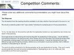 competition comments