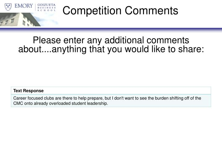 Competition Comments