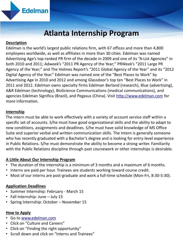 Atlanta internship program