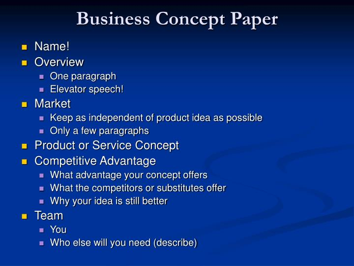 Business Concept Paper