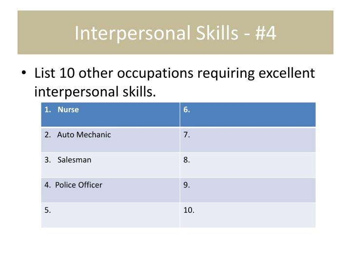 Interpersonal Skills - #4