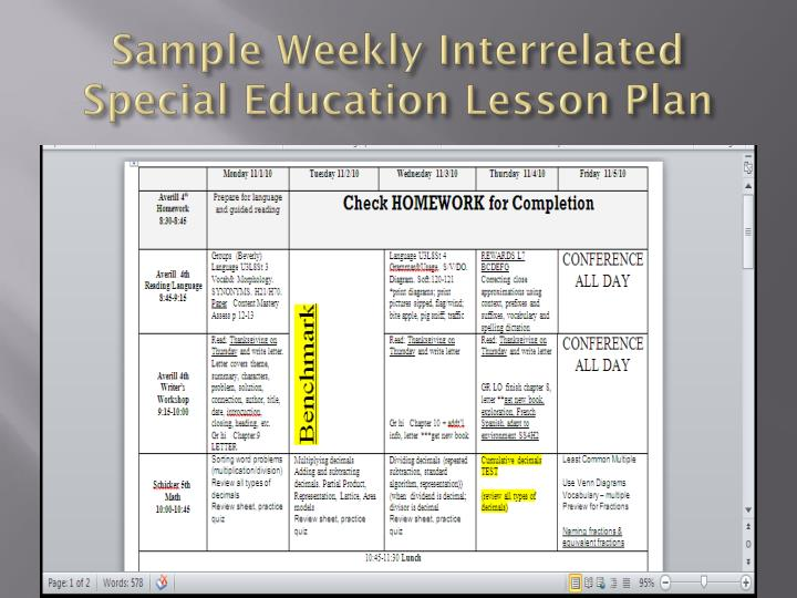 Special Education Weekly Lesson Plan Template Business Mandegarfo