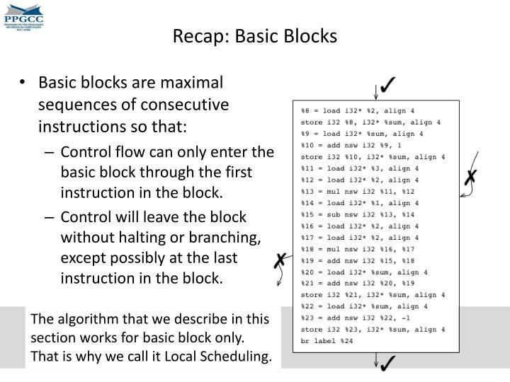 Recap: Basic Blocks