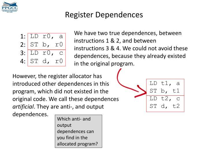 Register Dependences
