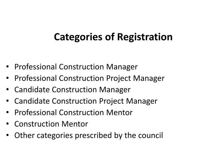 Categories of Registration