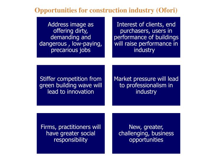 Opportunities for construction industry (