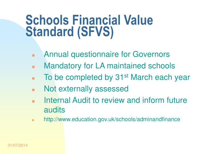Schools Financial Value Standard (SFVS)