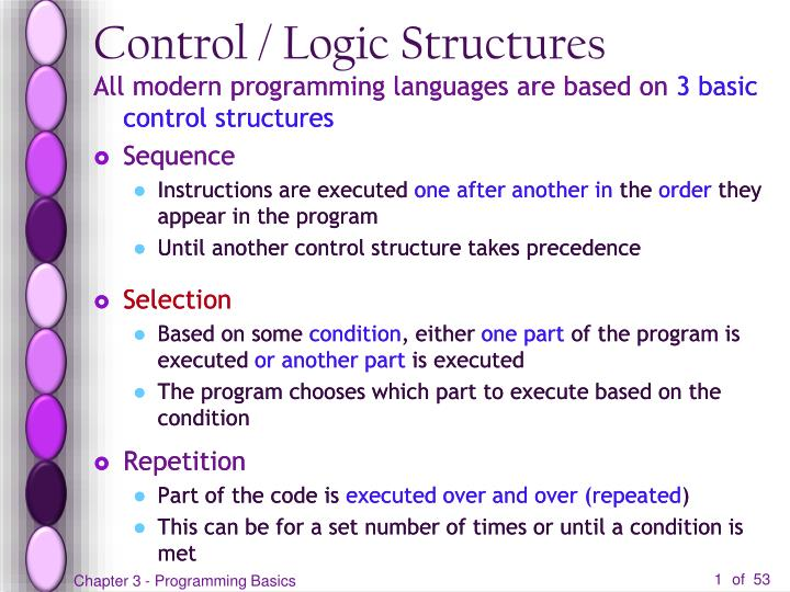 Control logic structures