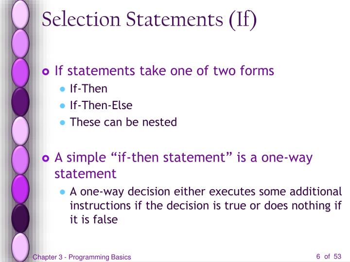 Selection Statements (If)