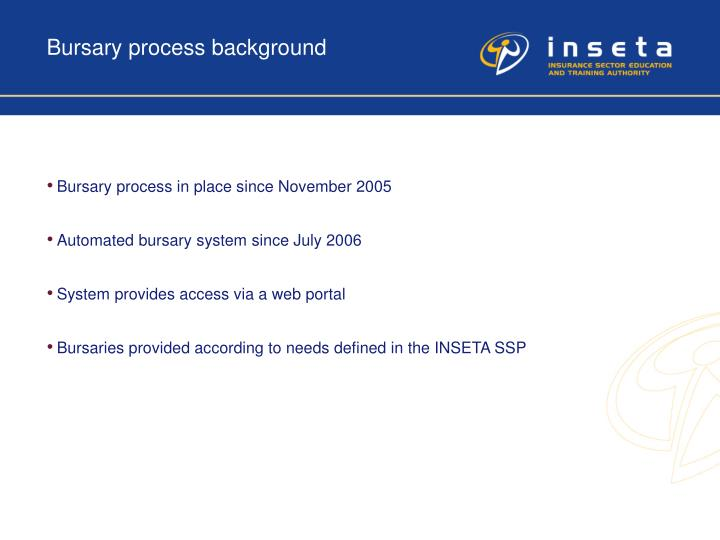 Bursary process background