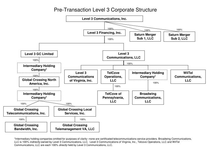 Pre transaction level 3 corporate structure