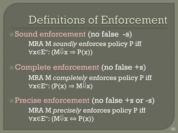 Definitions of Enforcement
