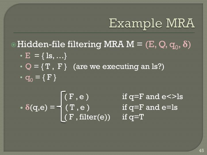 Example MRA