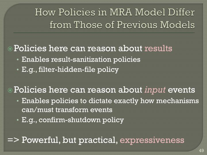 How Policies in MRA Model Differ from Those of Previous Models