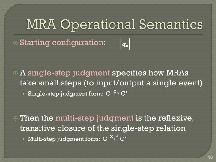 MRA Operational Semantics