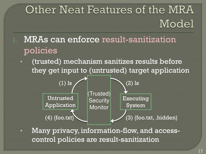 Other Neat Features of the MRA Model
