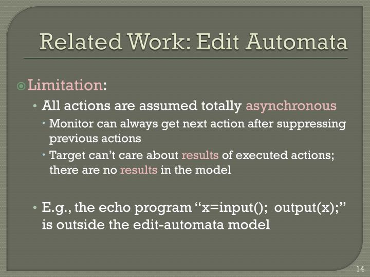 Related Work: Edit Automata