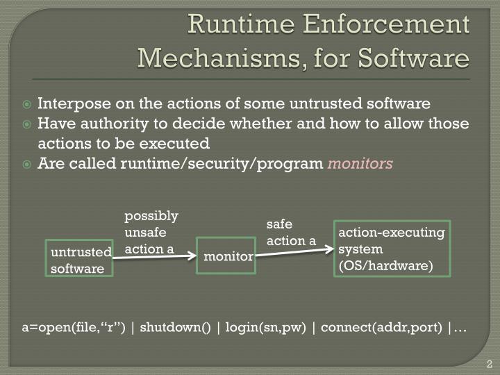 Runtime Enforcement Mechanisms, for Software