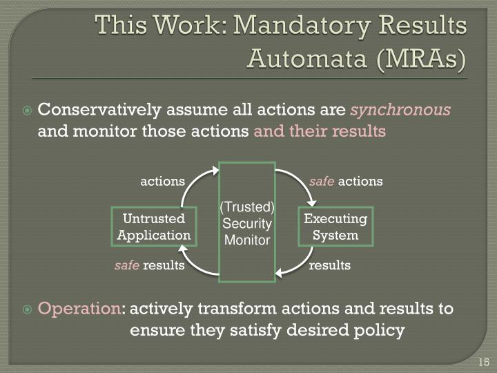 This Work: Mandatory Results Automata (MRAs)