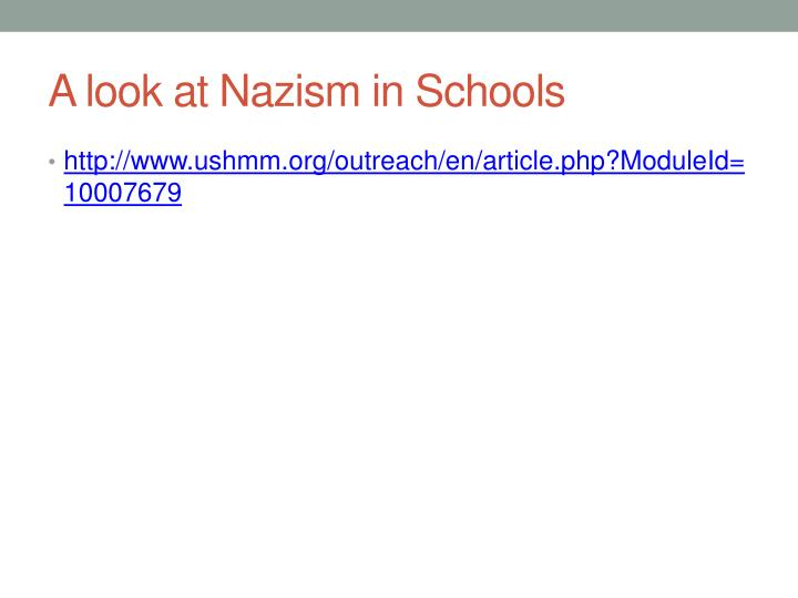 A look at Nazism in Schools