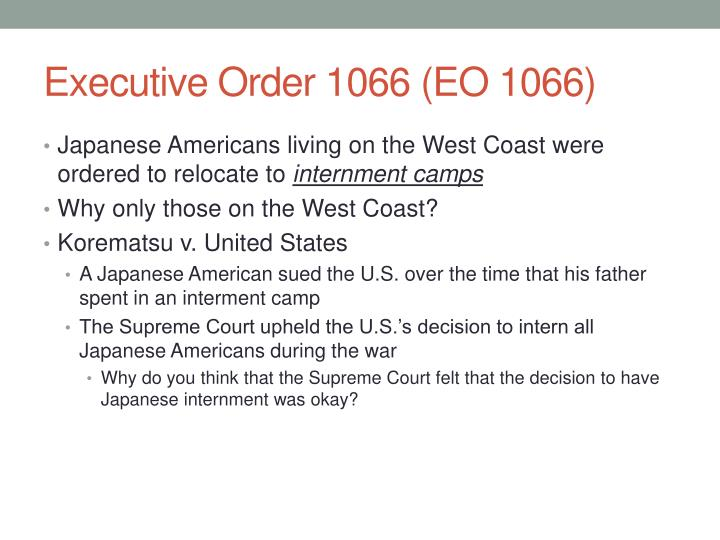 Executive Order 1066 (EO 1066)