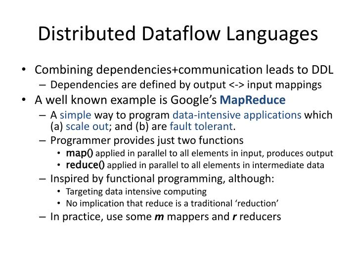 Distributed Dataflow Languages