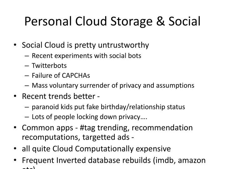 Personal Cloud Storage & Social