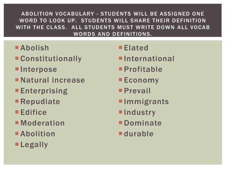 Abolition Vocabulary -