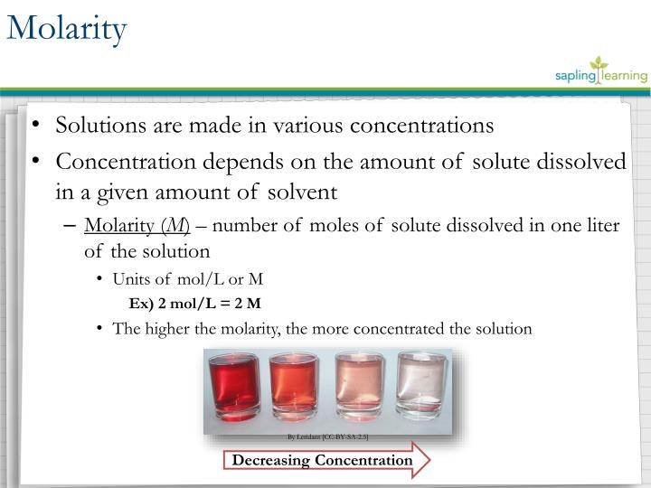 Solutions are made in various concentrations