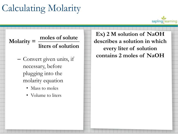Lesson objective calculate the concentration of solutions in units of molarity