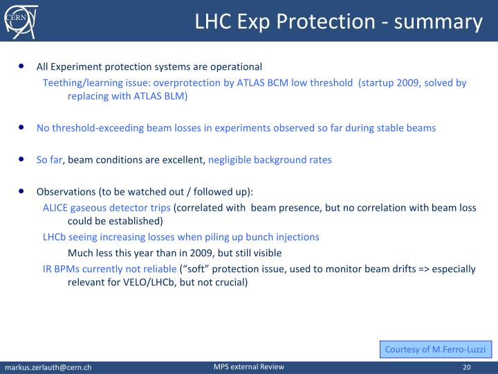 LHC Exp Protection - summary