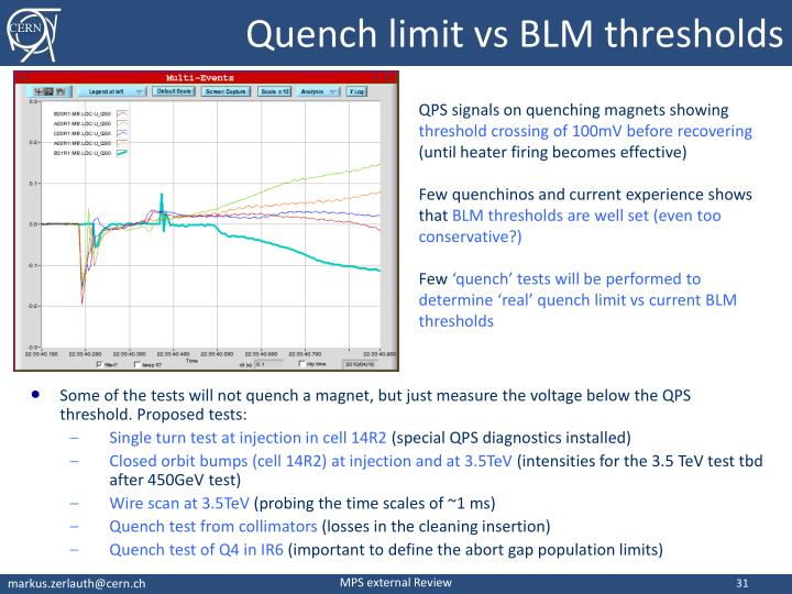 Quench limit vs BLM thresholds