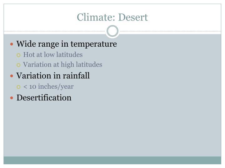 Climate: Desert