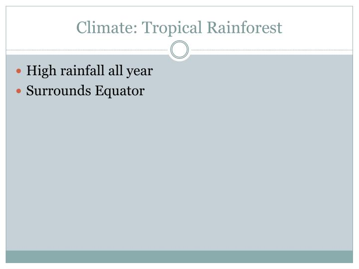 Climate: Tropical Rainforest