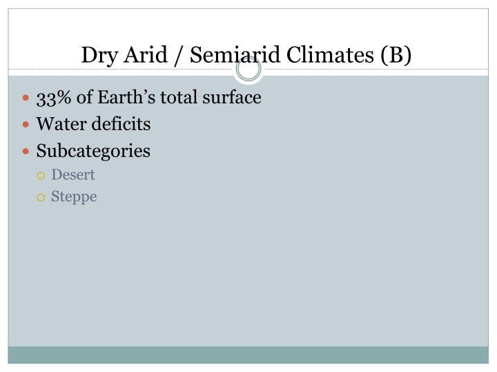 Dry Arid / Semiarid Climates (B)
