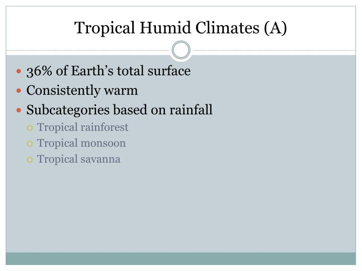 Tropical Humid Climates (A)