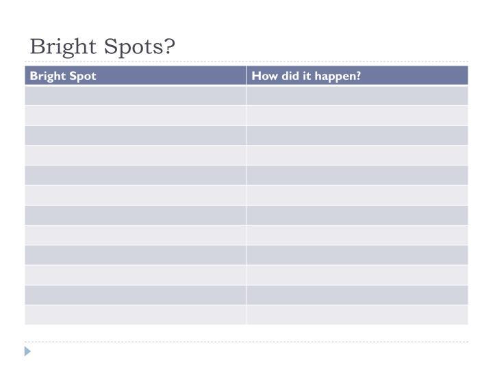 Bright Spots?