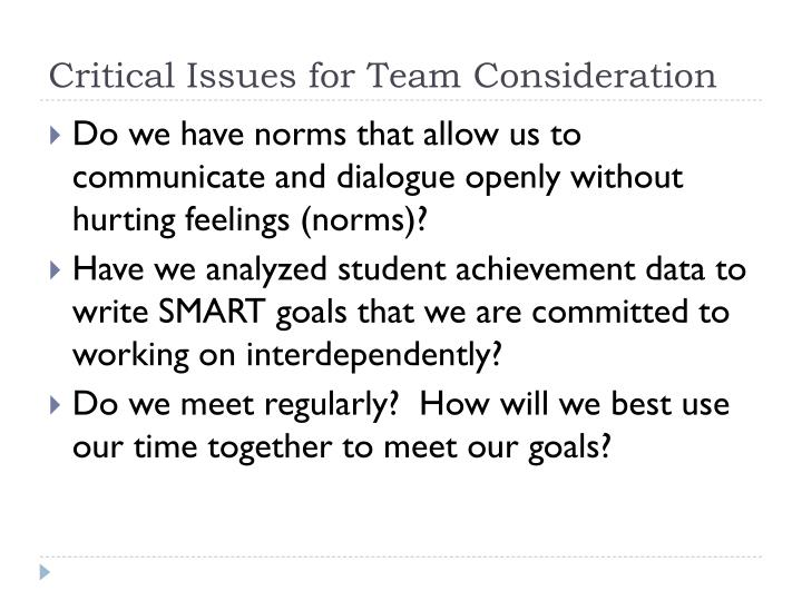 Critical Issues for Team Consideration